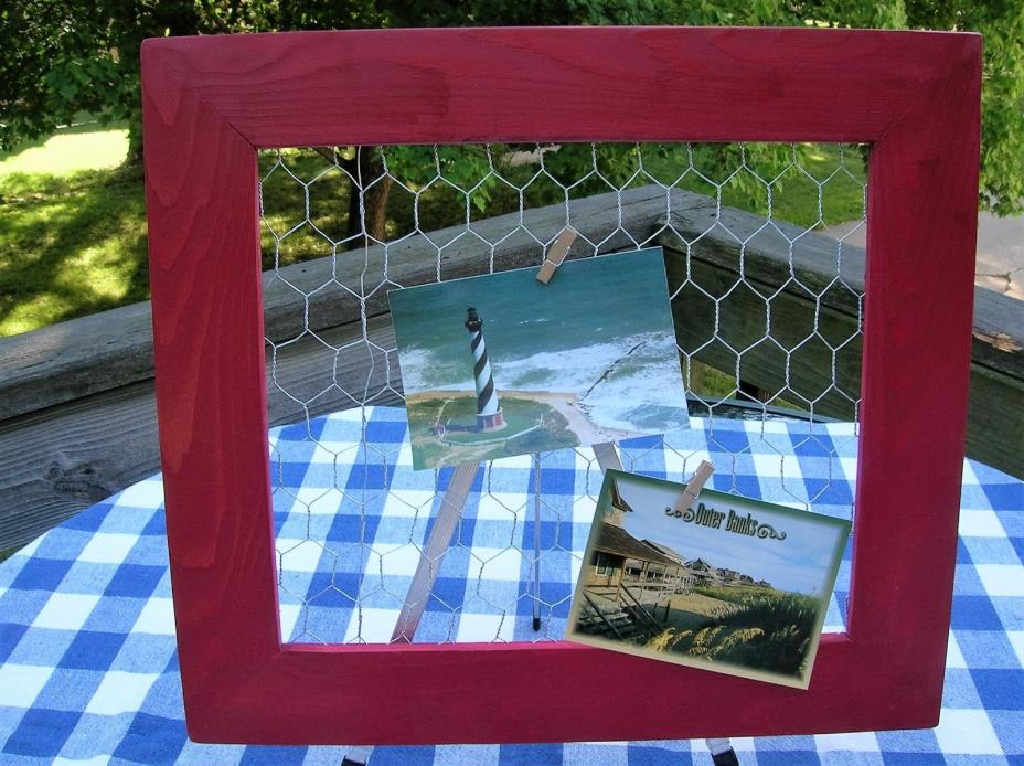 Chicken Wire Frame - Red - Jewelry Organizer, Photo Bulletin Board Display - 16