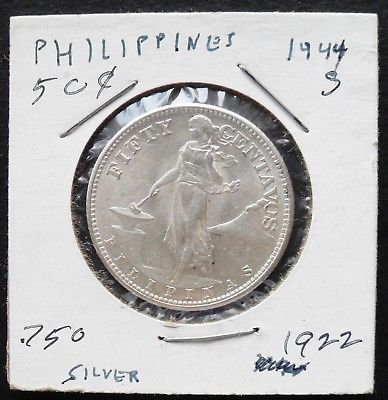 1944 S Philippines 50 C , GEM uncirculated silver coin - 544