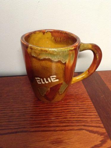 Dryden Art Pottery Ellie Cup Mug Brown Green Drip Vintage Hot Springs Arkansas