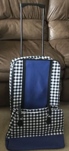 Trolley Bag And Satchel Black And White Check With Blue Trim