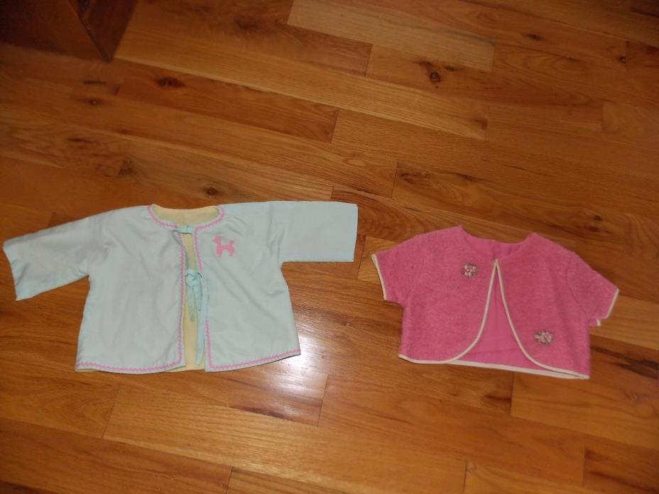 Vintage Baby Jackets Handmade Poodle Applique + Pink Wool Blend