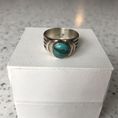 Turquoise Sterling Silver Ring Blue Green Size 7