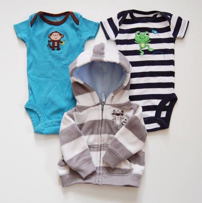 Carter's Baby Boys Newborn 3-Piece Clothing Lot (2 Bodysuits, 1 Jacket)