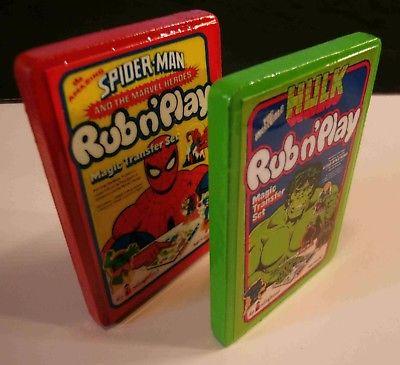 HULK and  Spider-Man Colorforms Rub N' Play Fridge Magnets