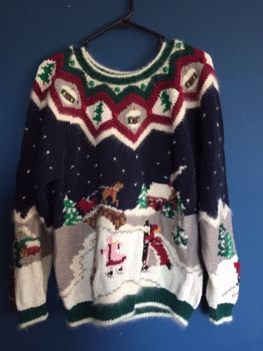 Ugly Christmas Xmas Sweater w/ country skating scene