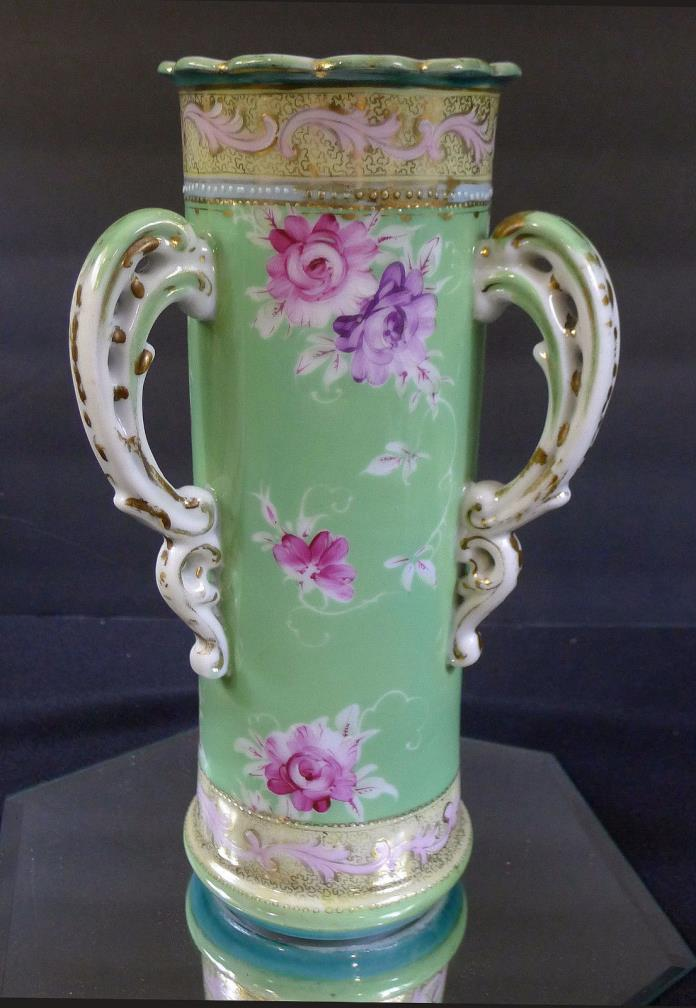 Nippon--Lovely Tall Vase w/ Three Pierced Handles--Excellent--Unusual Form--BIN!