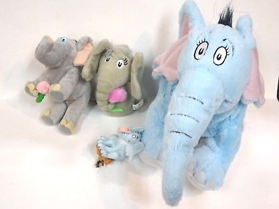 Vintage Dr Seuss Horton Hallmark Ornament & Plush Dolls & Finger Puppet 4pcs