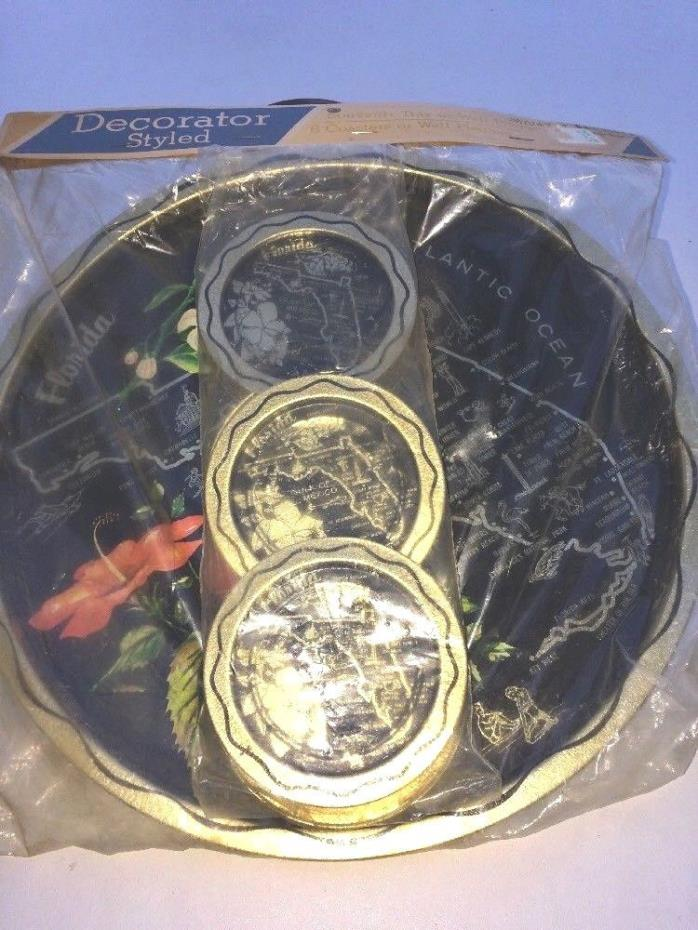Vintage Souvenir Florida Round Metal Tray & 6 Coasters / Original Package NOS