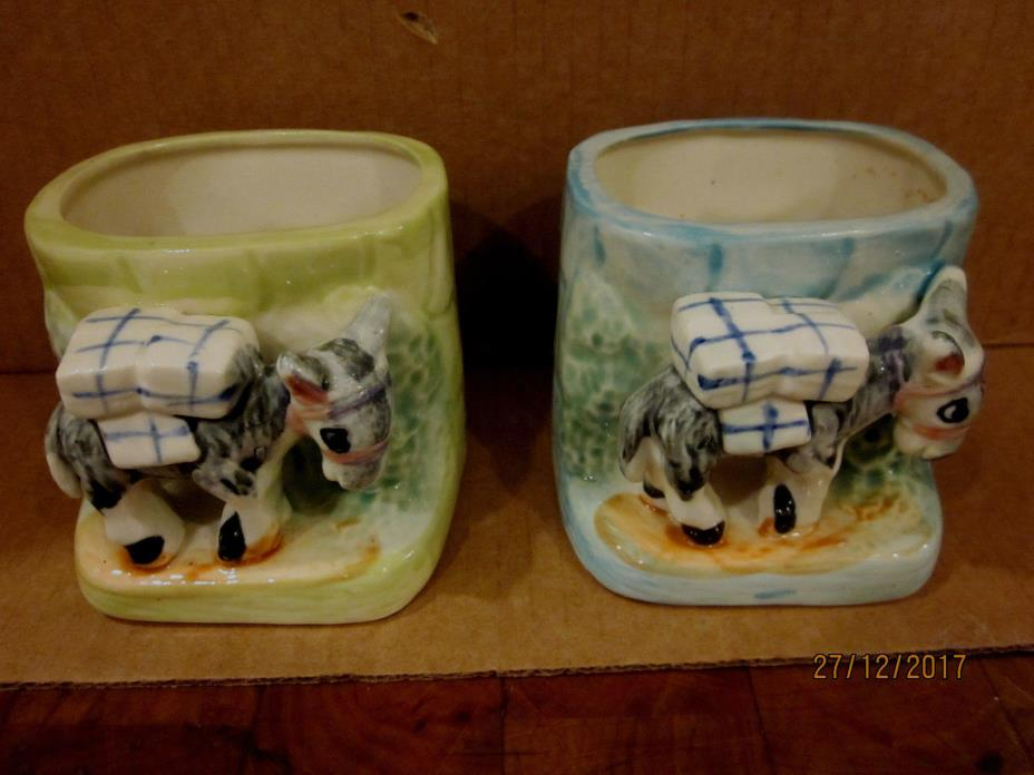 2 Vintage ceramic  Donkey or burro  planters  Green and blue  made in Japan
