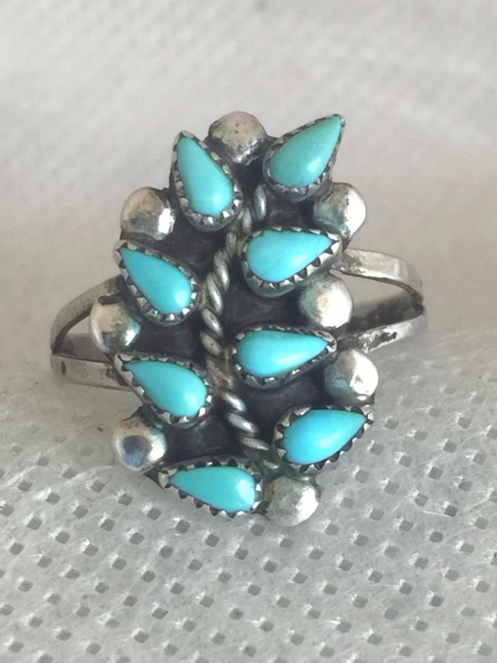 Vintage Sterling Silver Southwest Turquoise Leaf Ring Petite Point Size 6 2.8g