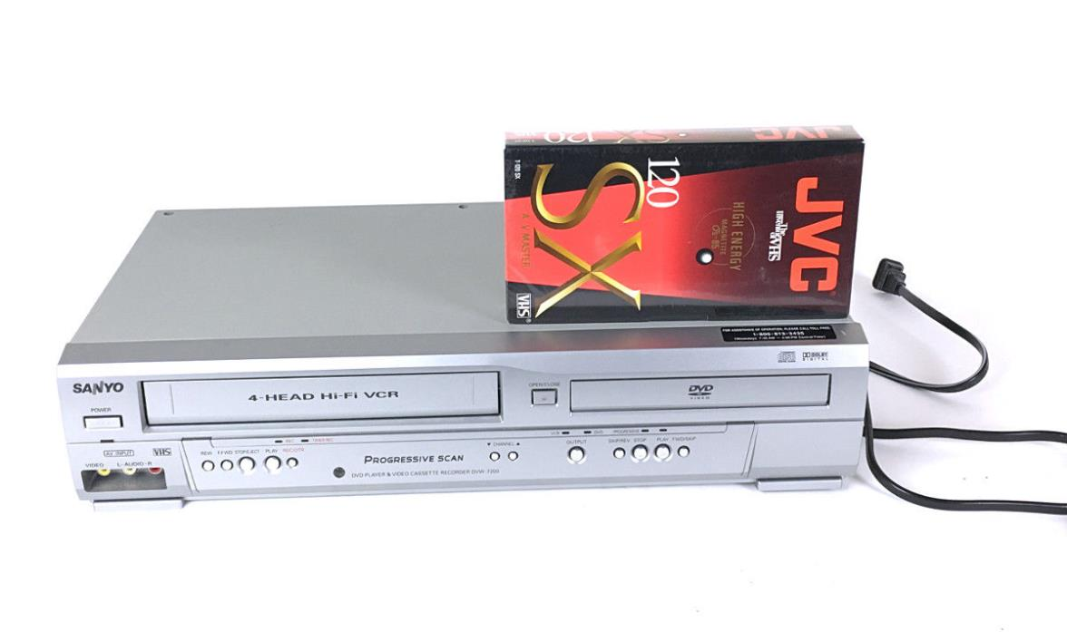 Sanyo DVW-7200 DVD VHS Combo Player VCR Recorder Tested + JVC Tape (No Remote)