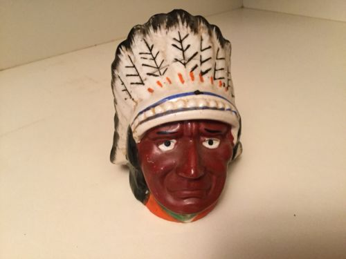 Old Indian Head with Full Headress Bank Hand Painted Made in Japan NICE DETAIL