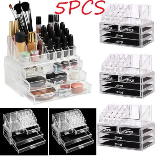 5PC Clear Acrylic Cosmetic Organizer 4 Drawers Makeup Case Storage Holder Box AS