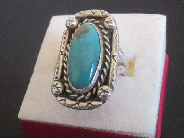 Southwest Turquoise Ring Signed Arrow Photo 3, Size 8