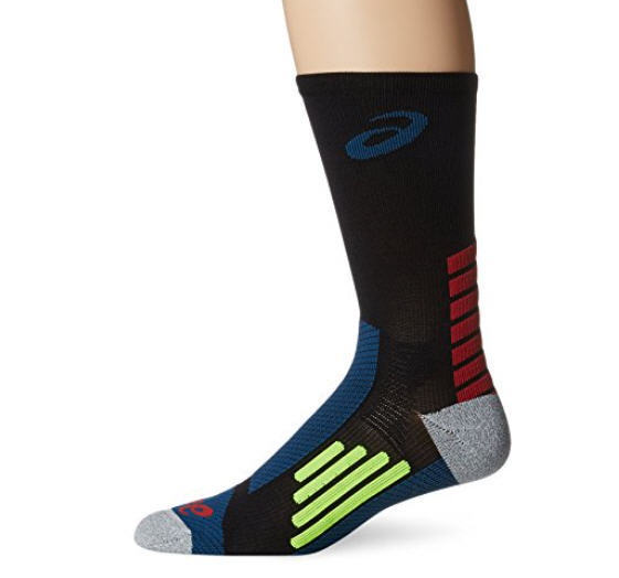 ASICS Rally Crew Running Socks, Black/Mosaic Blue, Small - Fast FREE Shipping!