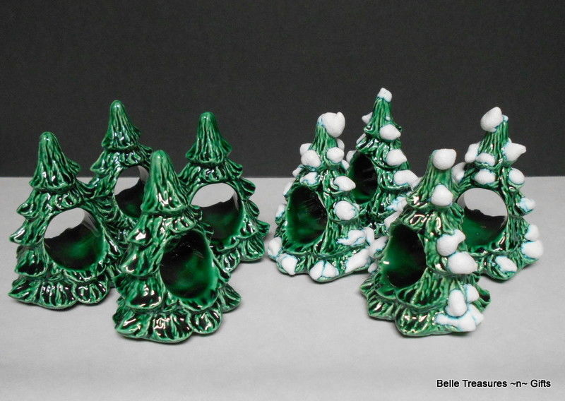 8PC Winter Christmas Tree Napkin Holders Green & Snow Covered