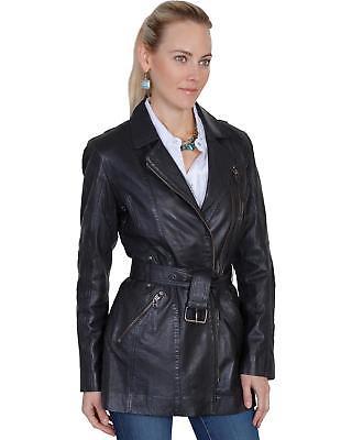 Scully Leatherwear Washed Lamb Leather Adjustable Belt Coat Black Medium