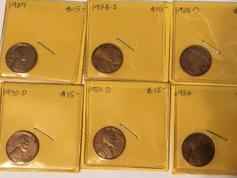 1927,28S,28D,30D,31D,32  6-Lincoln hi gd wheat cents one price Free shipping!