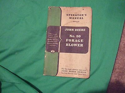 john deere NO50 forage blower  operators manual with  parts   orig OM-E13-851