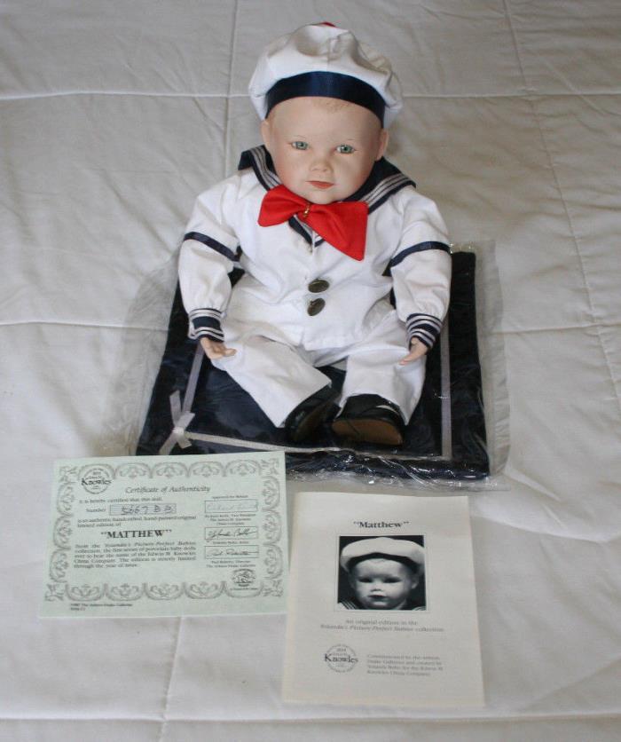 Yolanda Bello's Picture Perfect Babies Matthew Knowles 1987 sailor boy COA NIB