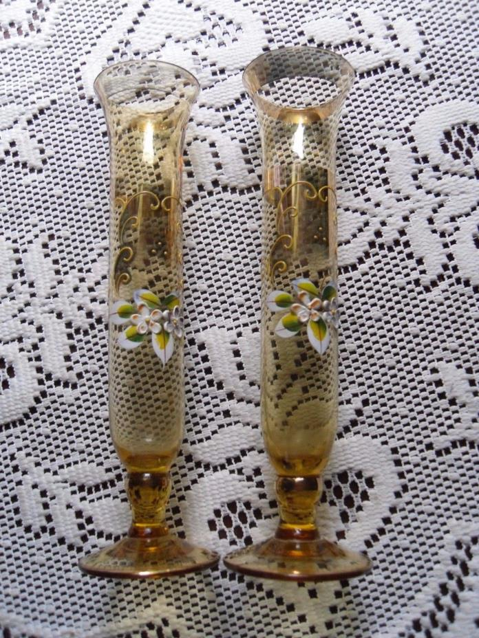 Set of 2 BOHEMIAN CZECH YELLOW GLASS HAND PAINTED GOLD ENAMEL FLOWERS Vases 8