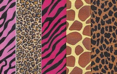 Animal print grosgrain ribbon 1-1/2 inch 3 yards each 18 yards plus 18 yards 3/8