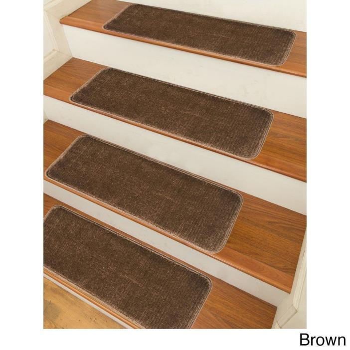 Stair Treads Set Indoor Wood Floors Non Skid Slip Carpet Rugs Pads Rubber Brown