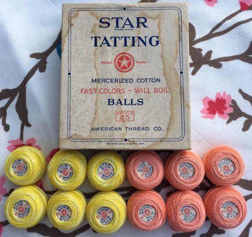 VTG Star Tatting Mercerized Cotton Balls American Thread Co. Multi Original Box