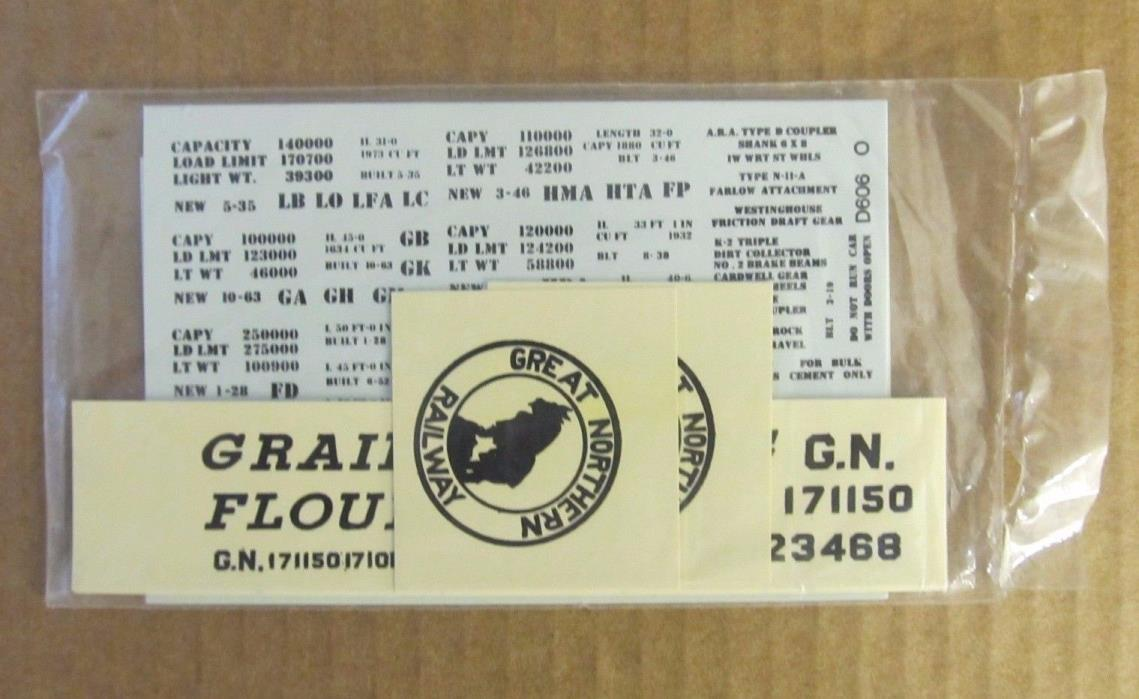 NOS RARE WALTHERS O SCALE DECAL - GREAT NORTHERN BOX CAR #52-40C (Black letters)
