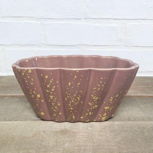 Vintage POTTERY PLANTER Ceramic MAUVE SPECKLES Shell Fan Tan Midcentury Modern