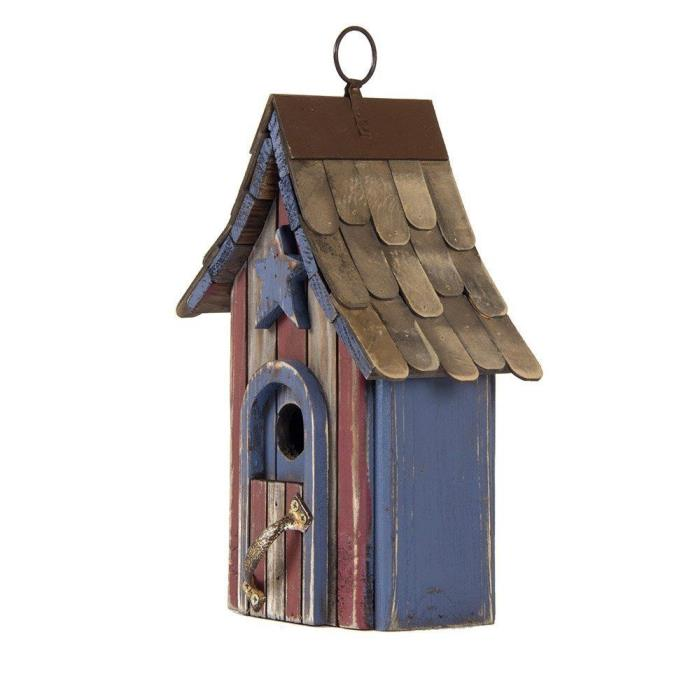 USA Patriotic Hand Painted Wood Birdhouse Single Roof 10.04 Will Honor The Birds