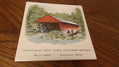 Newfield NY Covered Bridge built 1853 Tile Trivet VINTAGE signed Evans   #16