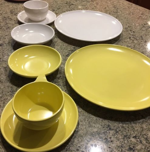 Vintage Watertown Ware Melmac Melamine Yellow Plates Bowls Cups Set bx55