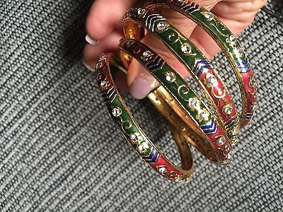 BANGLE BRACELETS, India, metal, bright colors with stones