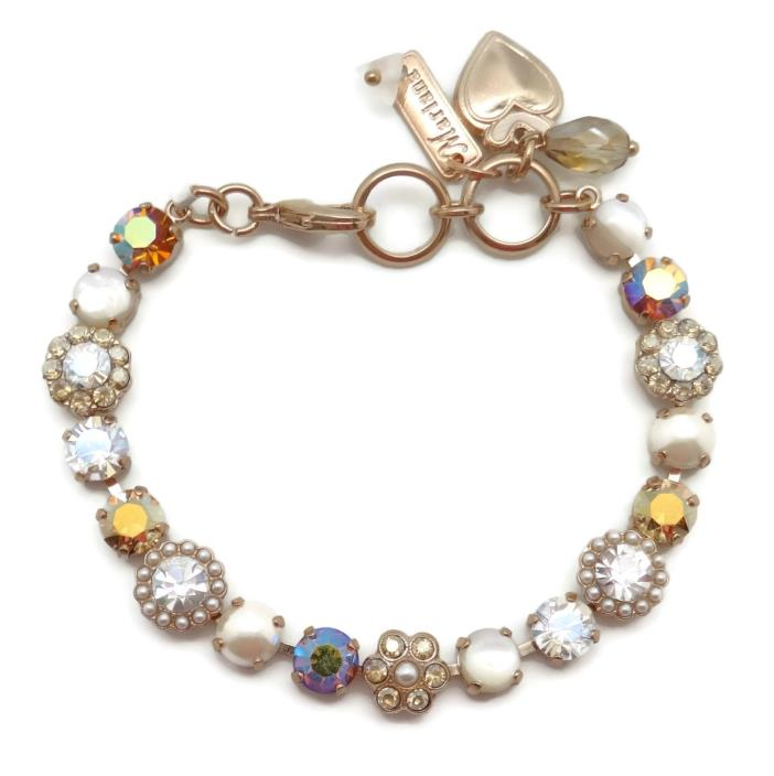 MARIANA Swarovski Crystal Rose Gold Bracelet Lt Topaz Clear Mosaic M1093 Aurora