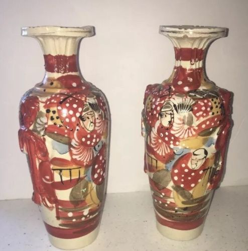 Pair antique Japanese Satsuma style pottery vases w/ painted figures