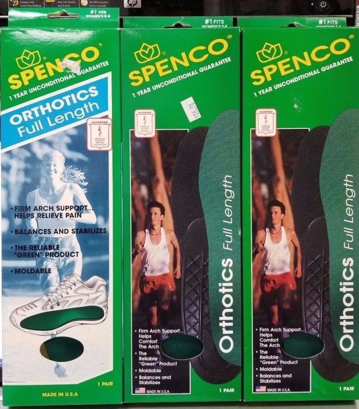 3 Spenco Orthotics Full Length Women's 5-6