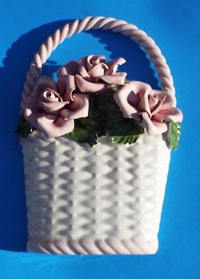 Vintage Porcelain Wall Hanging Basket with Flowers