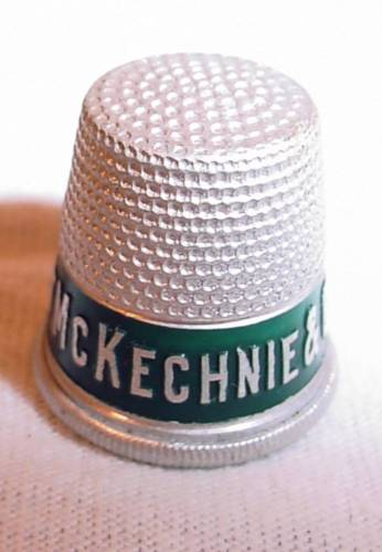 OLD VINTAGE COLLECTIBLE ADVERTISING SEWING THIMBLE McKECHNIE & CO MILK & BREAD