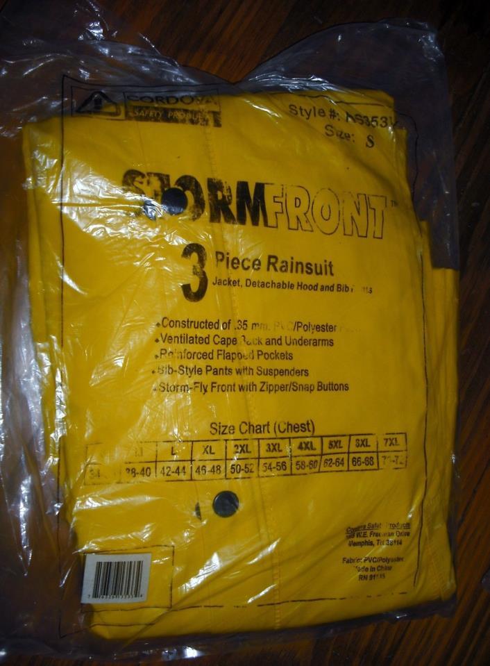 CORDOVA  3 piece rain suit jacket, hood bib pants RS353Y mens small .35 mm