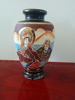 Japanese antique Export Cobalt Blue Satsuma Vase Hand Painted Vase-1920s