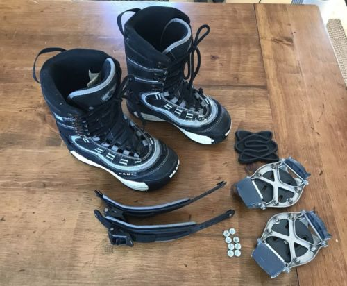 Van's Snowboard boots w/ Switch Step in Bindings, Men's Size 8 Used