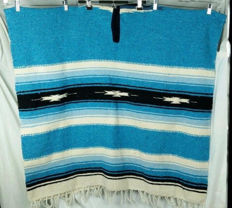 Poncho blanket unisex white blue striped cotton 38