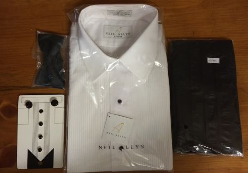 tuxedo shirt, cummerbund, bow tie, and cuff link set  NWT  size L