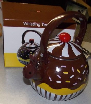 Chocolate Cupcake Whistling Tea Kettle Novelty Enamel Supreme Brand New