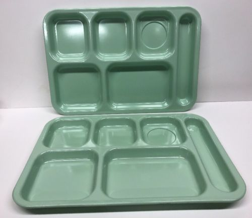 2 Vtg DALLAS WARE Melamine Cafeteria/Lunch/TV Food Trays Mint Green Camping RV