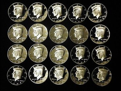 2004 S PROOF 90% SILVER ROLL - KENNEDY HALF DOLLARS- TWENTY FROSTED CAMEO PROOFS