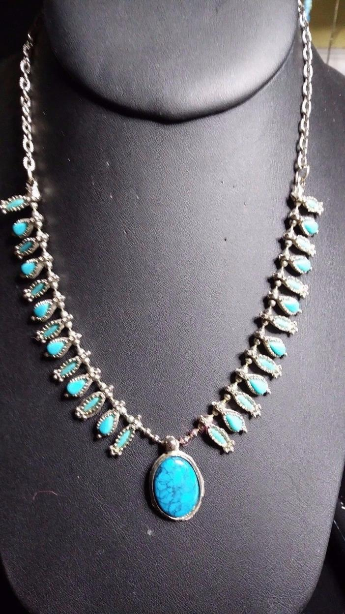 Vintage Turquoise and Silver Tone Necklace Bead Chain
