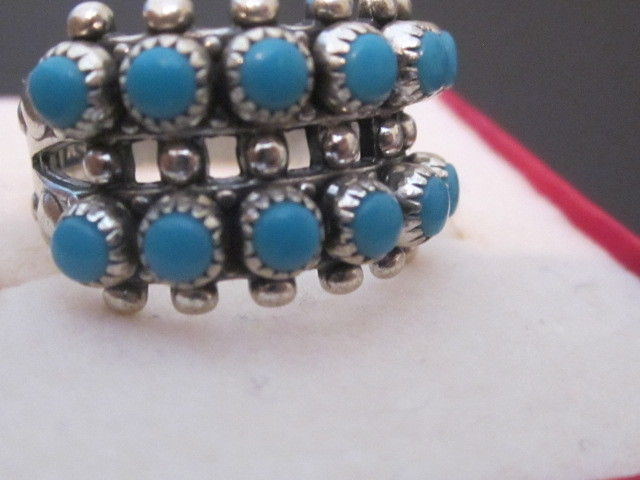 VINTAGE Sterling Silver & Turquoise Beaded Ring SZ 5