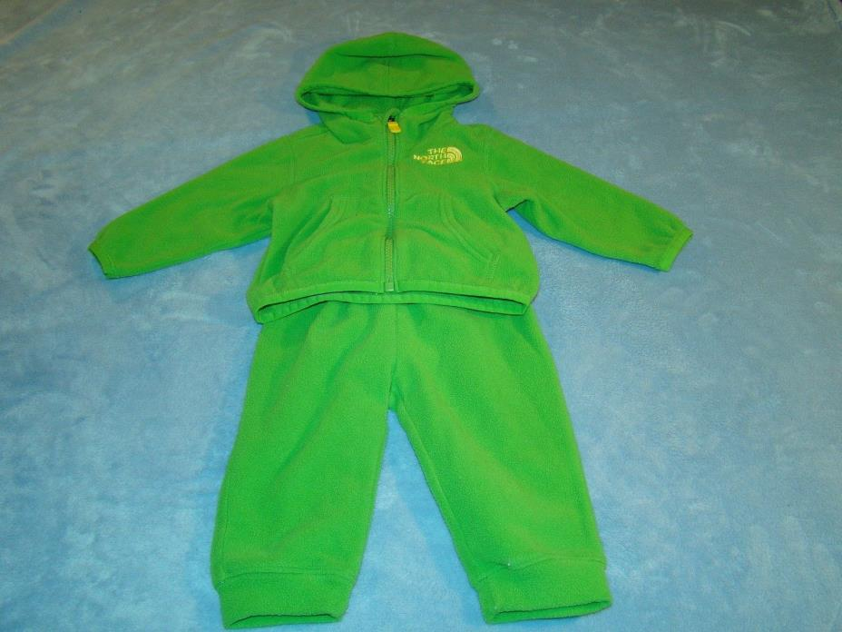 Baby Toddler THE NORTH FACE Fleece Hooded Jacket and Pants Size 3-6 MO Green